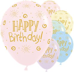 "Happy Birthday Pastel Assorted Balloons - 12"" Latex"