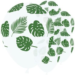 "Tropical Leaves Clear Balloons - 12"" Latex"
