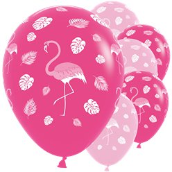 "Flamingo Assorted Balloons - 12"" Latex"
