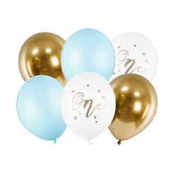 "Pastel Blue Age 1 Balloon Bundle - 12"" Latex"