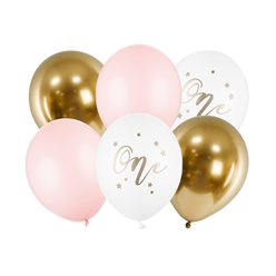 "Pastel Pink Age 1 Balloon Bundle - 12"" Latex"