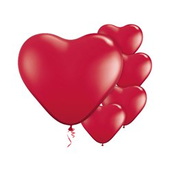 "Ruby Red Heart Balloons - 6"" Latex"
