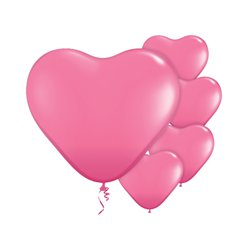 "Rose Pink Heart Balloons - 6"" Latex"