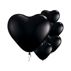 "Onyx Black Heart Balloons - 6"" Latex"