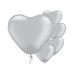 "Silver Heart Balloons - 6"" Latex"