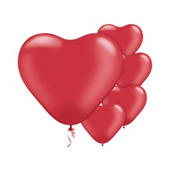 "Ruby Red Pearl Heart Balloons - 6"" Latex"