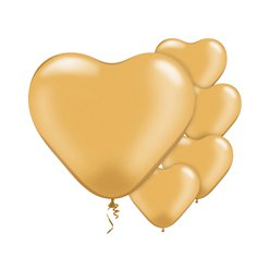 "Gold Heart Balloons - 6"" Latex"