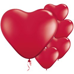 "Ruby Red Heart Balloons - 11"" Latex"