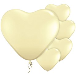 "Ivory Silk Heart Balloons - 11"" Latex"