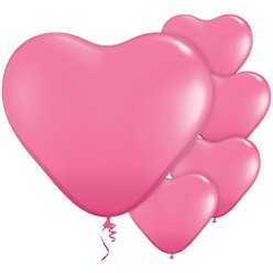 "Rose Pink Heart Balloons - 11"" Latex"