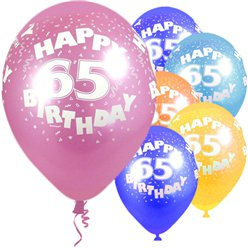 "65th Birthday Assorted Colour Balloons - 12"" Latex"