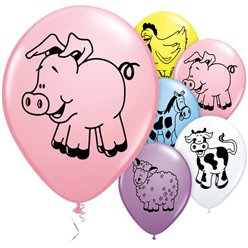 "Farm Animal Balloons - 11"" Latex"