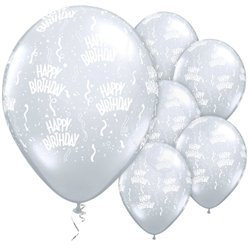 "Happy Birthday Clear Diamond Balloons - 11"" Latex"
