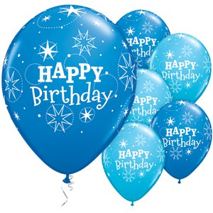 Happy Birthday Blue Sparkle Balloons 11 Quot Latex Party