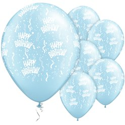 "Happy Birthday Pearl Light Blue Balloons - 11"" Latex"