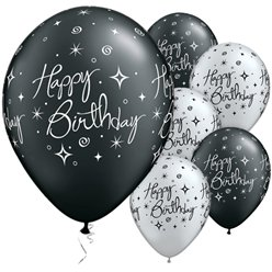 "Happy Birthday Black & Silver Sparkles Balloons - 11"" Latex"