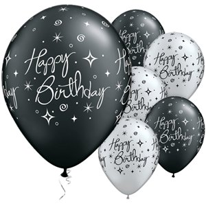 Happy Birthday Black & Silver Sparkles Balloons - 11