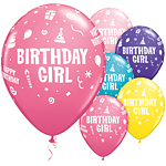 "Birthday Girl Balloons Assortment - 11"" Latex"