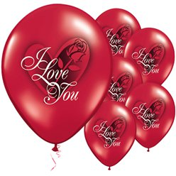 "I Love You Rose Valentine's Balloons - 11"" Latex"