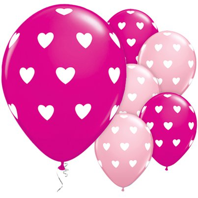 "Heart Print Pink Balloons - 11"" Latex"