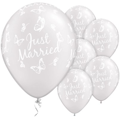 "Just Married Butterflies Pearl White Wedding Balloons - 11"" Latex"