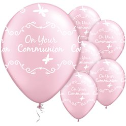 "First Holy Communion Pink Butterflies Balloons - 11"" Latex"