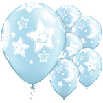 "Baby Moon & Stars Light Blue Pearl Balloons - 11"" Latex"
