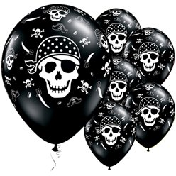 "Pirate Skull & Cross Bones Balloons - 11"" Latex"