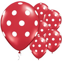 "Red & White Polka Dots Balloons - 11"" Latex"