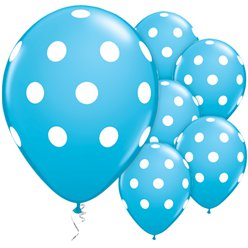 "Robins Egg Blue Polka Dots Balloons - 11"" Latex"