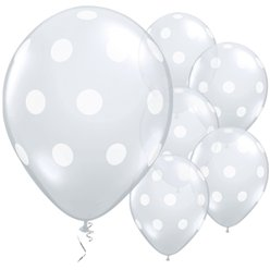 "Diamond Clear Big Polka Dots Balloons - 11"" Latex"
