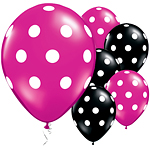 "Black & Magenta Big Polka Dots Balloons - 11"" Latex"