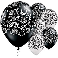 "Black & Pearl White Damask Print Balloons - 11"" Latex"