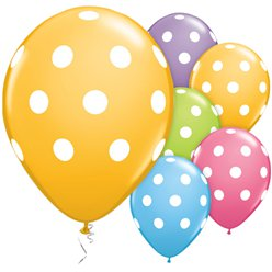 "Multicoloured Big Polka Dots Balloons - 11"" Latex"
