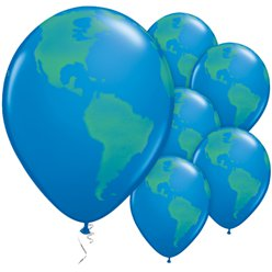 "Dark Blue Globe Balloons - 11"" Latex"