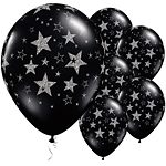 "Black Glitter & Stars Balloons - 11"" Latex"