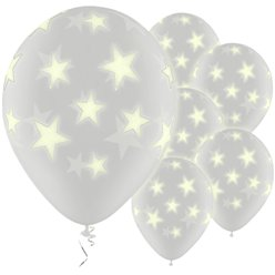 "Glow in the Dark Stars Balloons - 11"" Latex"