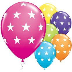"Multicoloured Big Stars Balloons - 11"" Latex"