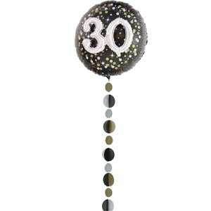 Gold, Silver & Black Circles Balloon Tail - 1.2m
