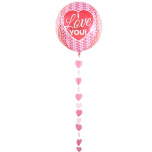 Pink Heart Balloon Tail - 1.2m