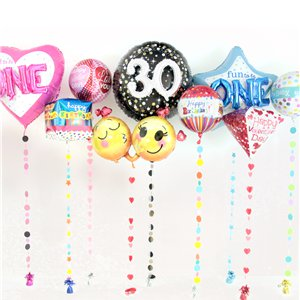 Pink Glittery Circles Balloon Tail - 1.8m