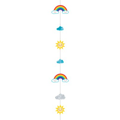 Rainbow & Clouds Glittery Balloon Tail - 1.8m