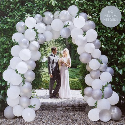 White & Silver Wedding Balloon Arch Kit