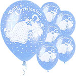 Boys Christening Blue Traditional Balloons - Latex