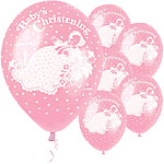 Girls Christening Pink Traditional Balloons - Latex