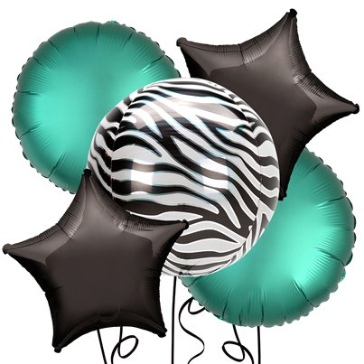 Zebra Orbz Foil Balloon Kit