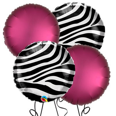 Zebra Round Foil Balloon Kit