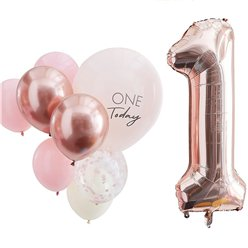 Pink & Rose Gold 1 Today Balloon Bundle