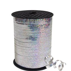 Silver Holographic Curling Balloon Ribbon - 228m
