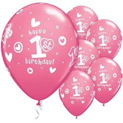 "1st Birthday Girls Hearts Pink Balloons - 11"" Latex"